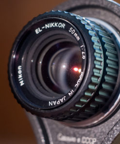 Macro Bellows setup for Nikon F with el Nikkor 50mm F2.8